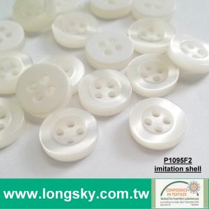 (#P1095R2/18L, 16L, 14L) 4-hole round polyester resin shell looked shirt button