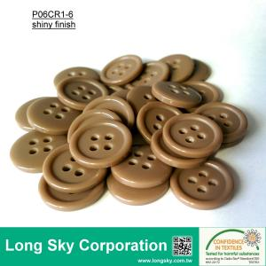 (#P06CR1-6) 1.5cm recst color 4-hole polyester resin sweater button