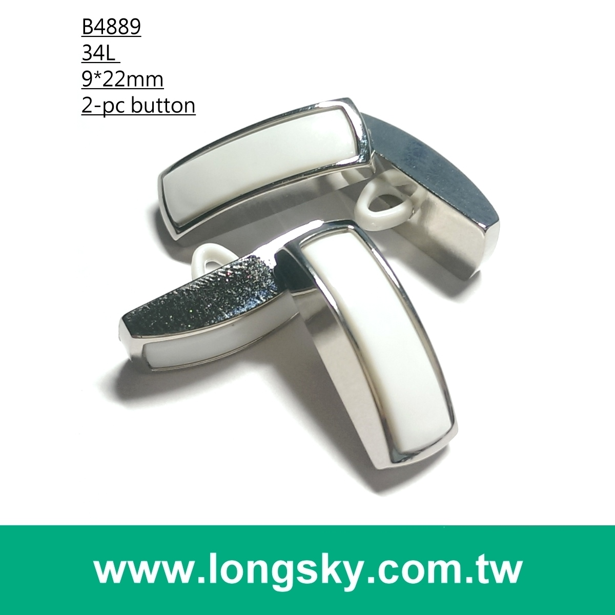 (#B4889/34L) fashion 2-piece combined rectangle silver-white plastic button for garment