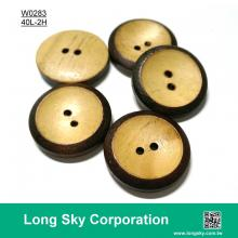 (#W0283) 2 hole dark brown edge wood made suit button