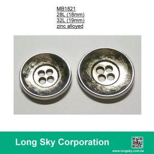 (MB1821/28L) 4-holes nickel plating classical metal button for men coat