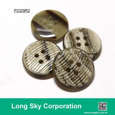(#P2329R2) Special Finish Polyester Resin Material Coat Button