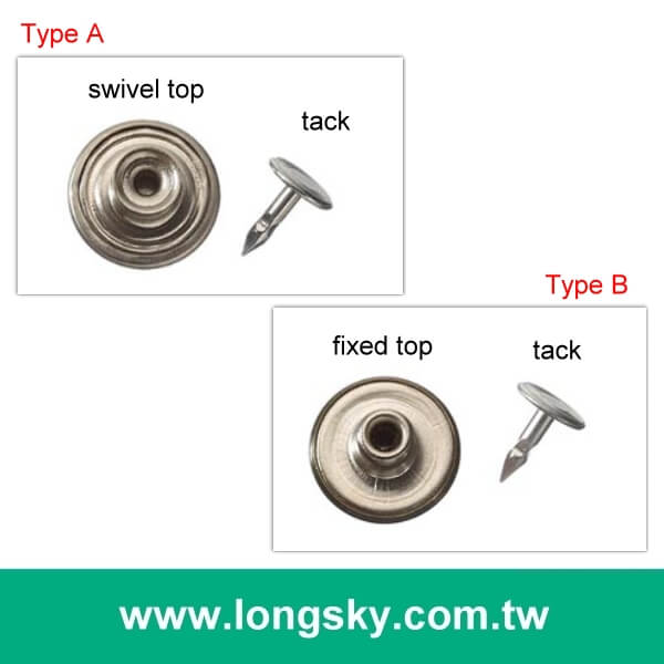 (#MB2803A) 17mm swivel plain top silver colour metal jean jacket buttons