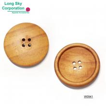 (#W0941) decorative round edge wooden garment button