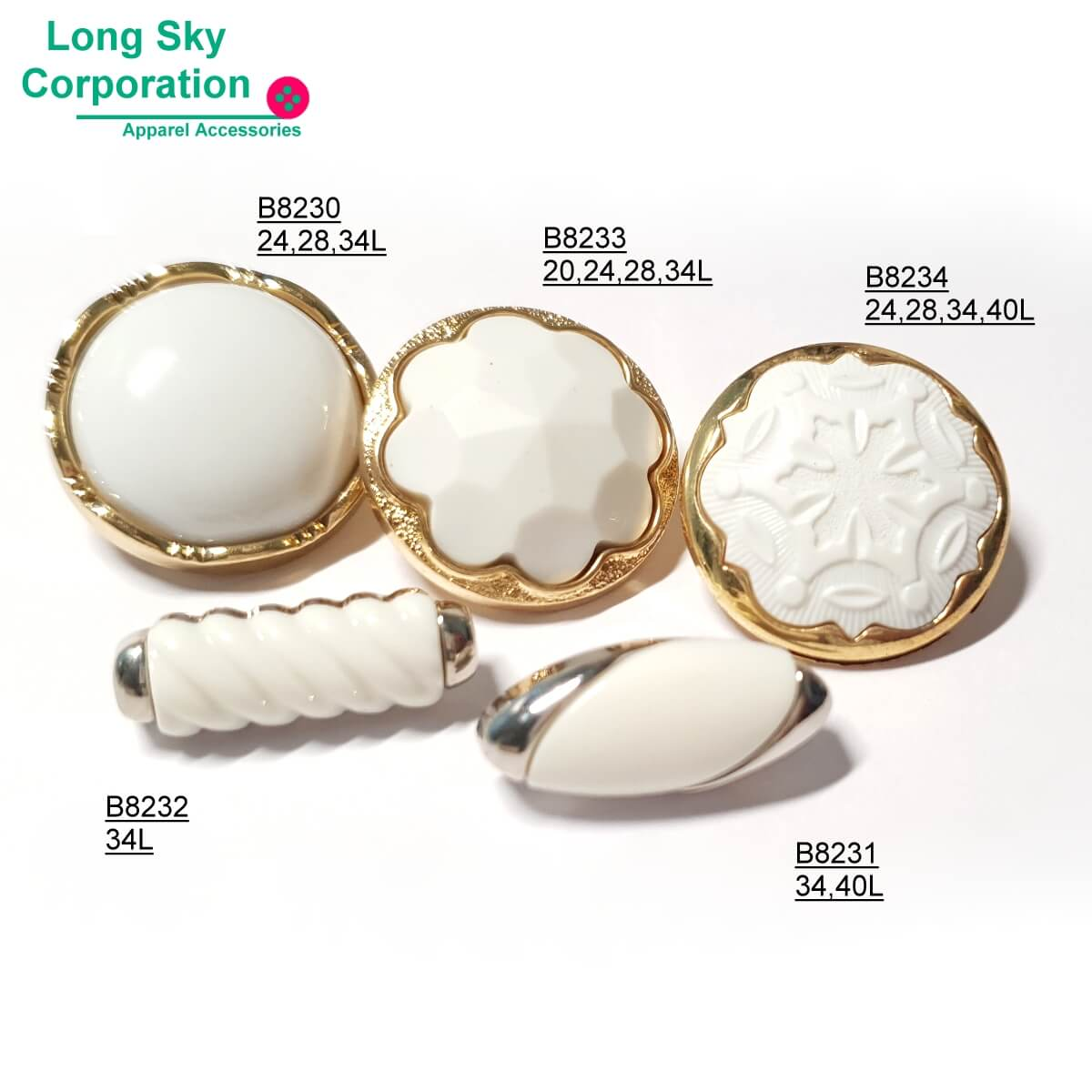 Gold plated lady suit buttons, B82-2-1