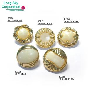 (#B78X-1-2) 2-piece combined pearl white gold base button for lady suit