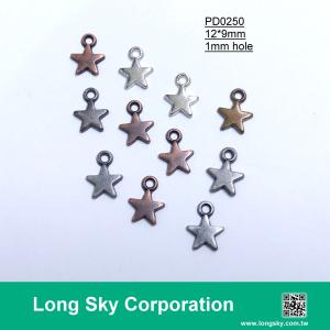 (#PD0250) 9mm small metal star pendants for trimming and clothing decoration