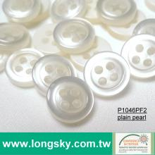 (P1046F2) 18L, 16L, 14L Popular Plain Pearl Polyester Resin Shirt Button