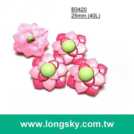 (#B3420) 25mm cute flower craft button, children buttons, baby button